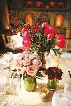 Pink Peony and Rose Wedding Centerpiece   Wedding Flowers