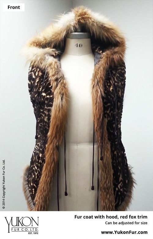 Fur Coat With Hood, Red Fox Trim  $3,080.00  Size: 14 Lining: B  Can be adjusted for size  http://www.yukonfur.com/wp/product/372-fur-coat-with-hood-red-fox-trim  For details call +01.416.598.3501 or email Chris, chris@yukonfur.com