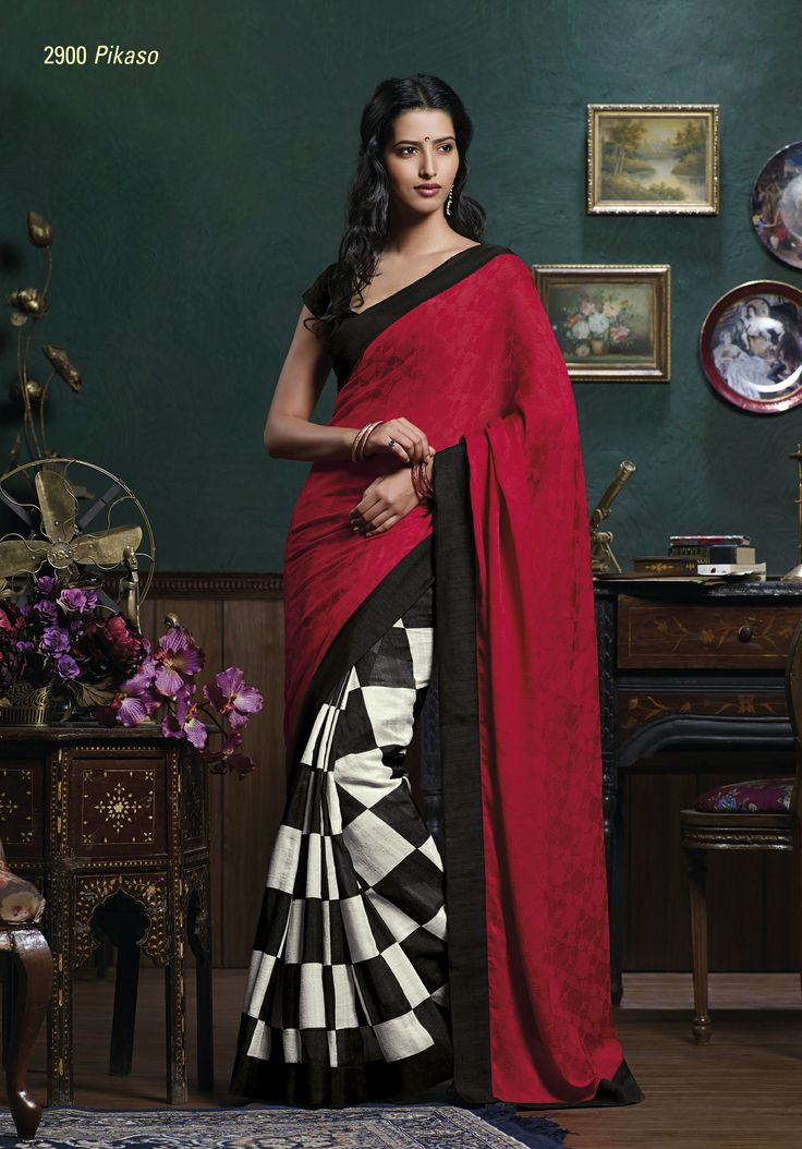 This red pallu jacquard material gives truly indian look  & it's specially for party wear