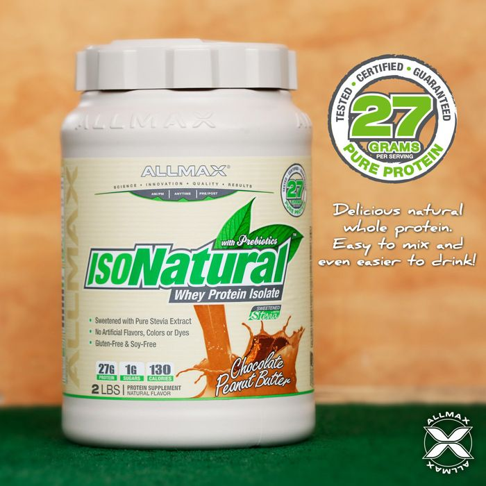 #IsoNatural is the most ideal protein supplement, with 27g of 100% pure #wheyprotein isolate from wholesome milk with all-natural flavors and plant-based Stevia to add a delicious hint of sweetness!  Zero artificial dyes or coloring, gluten-free and 99% lactose-free making it the ideal protein for those with sensitivities.  Formulated with prebiotics that has been shown to improve intestinal microflora, #IsoNatural is the natural choice to suit your healthy lifestyle!