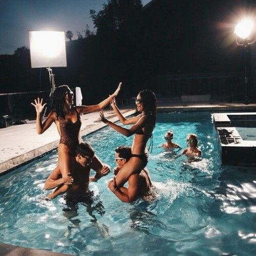 Pool party wildness young freedom