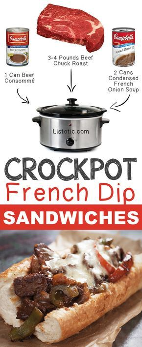 Crockpot French Dip Sandwiches | 12 Mind-Blowing Ways To Cook Meat In Your Crockpot-- Easy crockpot and slow cooker meals! Listotic.com
