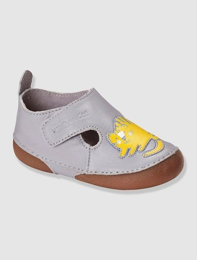 Baby's Bootees BLUE MEDIUM SOLID+GREY LIGHT SOLID WITH DESIGN - vertbaudet enfant