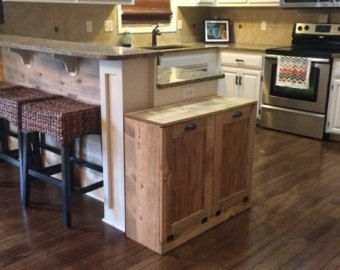 Double trash recycle bins rustic tilt out trash bin by Lovemade14
