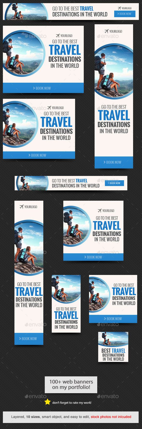 Best Travel Destination Web Banner Template #design Download: http://graphicriver.net/item/best-travel-destination-web-banner-template/11709017?ref=ksioks