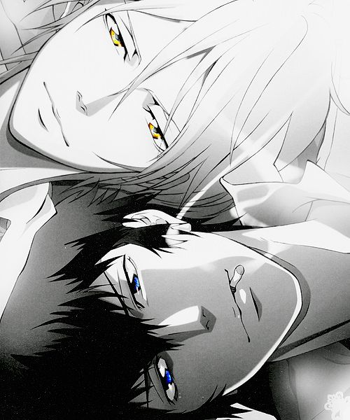 I love that the eyes are the only touch of color! : ) Black and white. .Makishima and Kougami - Psycho Pass