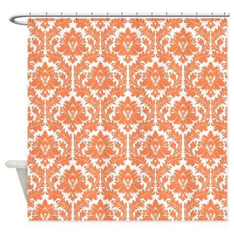 Nectarine Orange Damask Shower Curtain on CafePress com  Orange Bathroom  DecorOrange  Best 25  Orange bathroom decor ideas on Pinterest   Burnt orange  . Orange And Grey Bathroom Accessories. Home Design Ideas