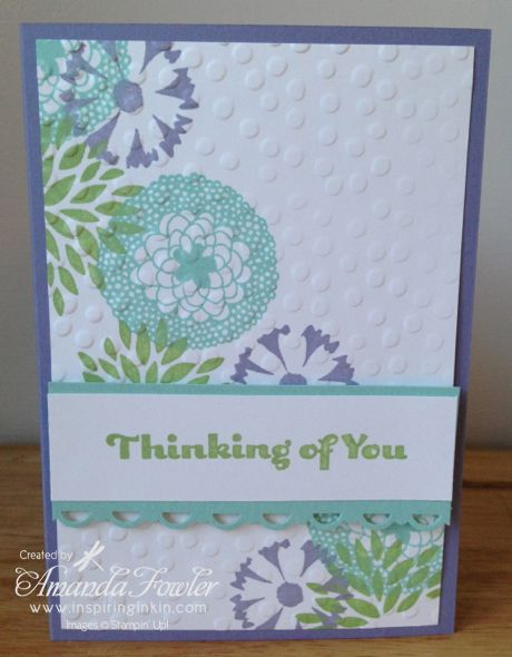 Petal Parade card, made by Amanda Fowler of Inspiring Inkin'. Using Stampin' Up! Petal Parade and Decorative dots embossing folder, both available as exclusive FREE products during February and March 2014 with a £45 order.  1 FREE item for every £45 you spend.