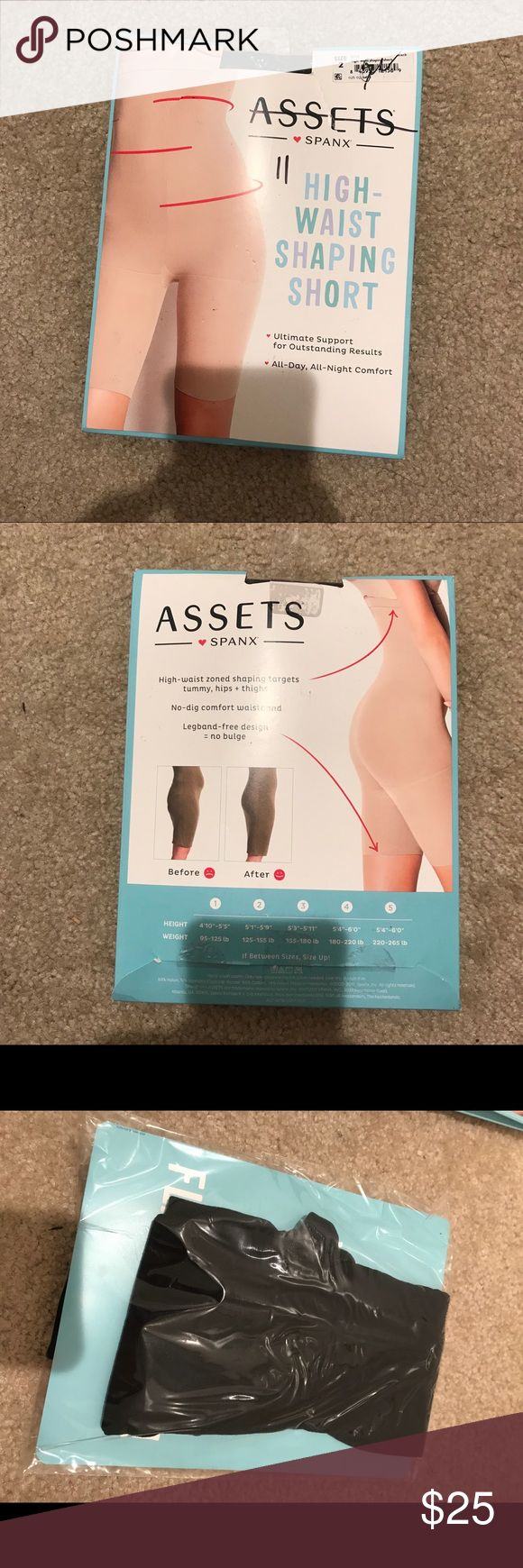 Assets Spanx High Waist Shaping Short Black 2 Black. Size 2 which says it's for 5'1 to 5'9 125-155 lbs.  Tight fit to hold everything in. I took them out to try on and they seem like they'd even be tight for me and I'm 110lbs 5'4. I'm sure I could get them on but I don't need them anymore so I didn't try. Just to give you an idea how tight they should be though if you want to size up for comfort vs holding in more. New, a little wear to the box. Assets By Spanx Intimates & Sleepwear…