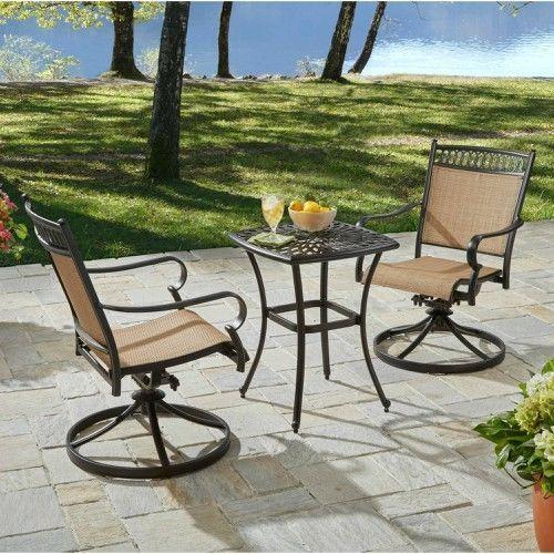 Patio Bistro Table & Swivel Chairs 3 PC Aluminium Fabric Garden Furniture Brown #BetterHomesGardens