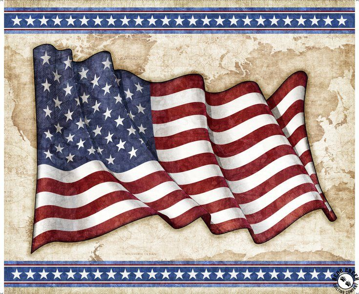 America My Home Fabric Panel Patriotic Words Flag Quilt Shop Quality
