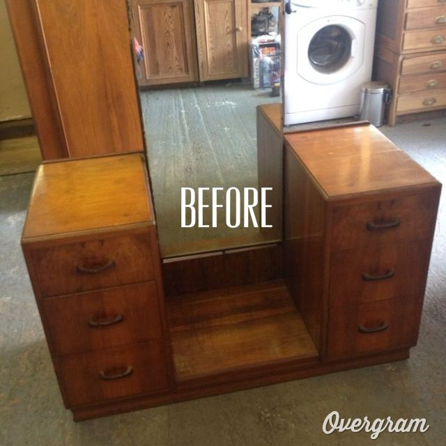 Dressing table project. With Annie Sloan old white paint. Still on the look out for different handles