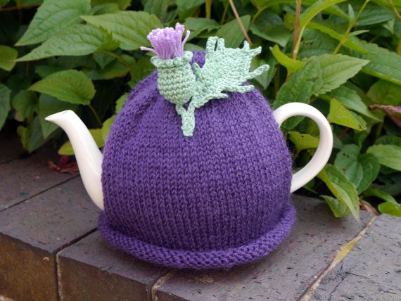 Thistle Tea Cosy by HookLoopKnits on Etsy                                                                                                                                                                                 More