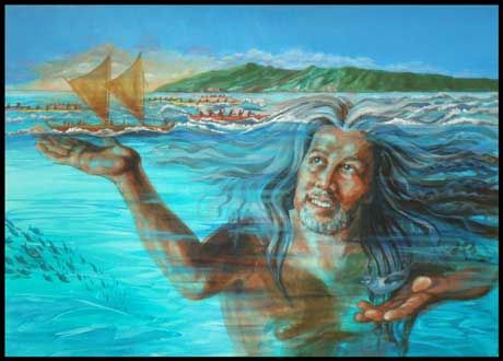 Kanaloa, Hawaiian God of the Sea protects mariners - ancient & modern.  The model is a famous Molokai musician - guess who???  Matted prints fit standard frame sizes.  Click on link below.