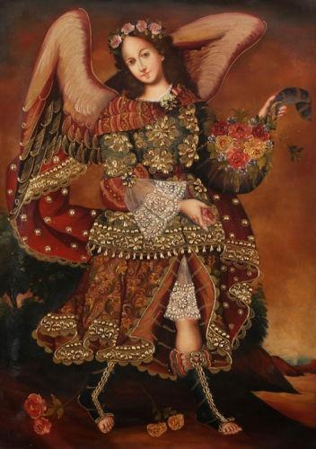 Angel Barachiel~ Cuzco Peru Original. Iconos de Santos de arte Folklórico