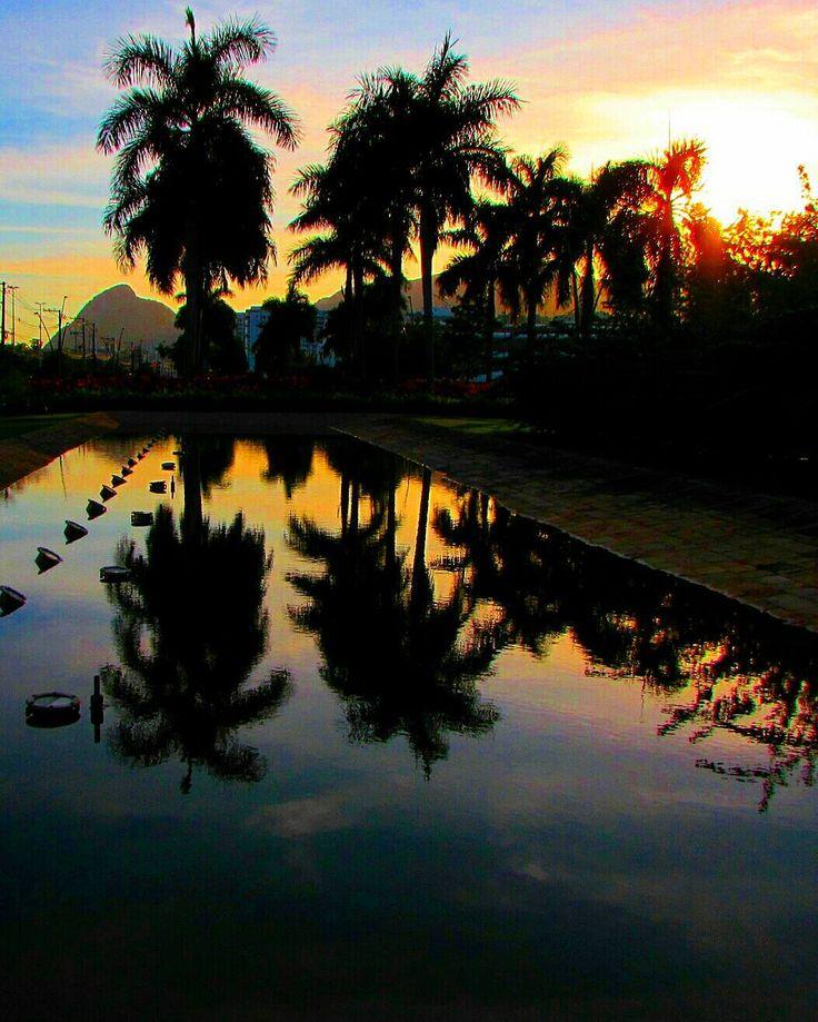 Sunset hoje no @hiltonbarrario  O espelho d'água dos jardins do hotel faz parte de um paisagismo muito bonito aqui nessa região que está cheia de atrações. Coladinho ao Hilton fica o @shoppingmetropolitanobarra  novinho e que está muito bonito. Essa área ao redor do Parque Olímpico floresce a passos largos no Rio! by blogletouriste