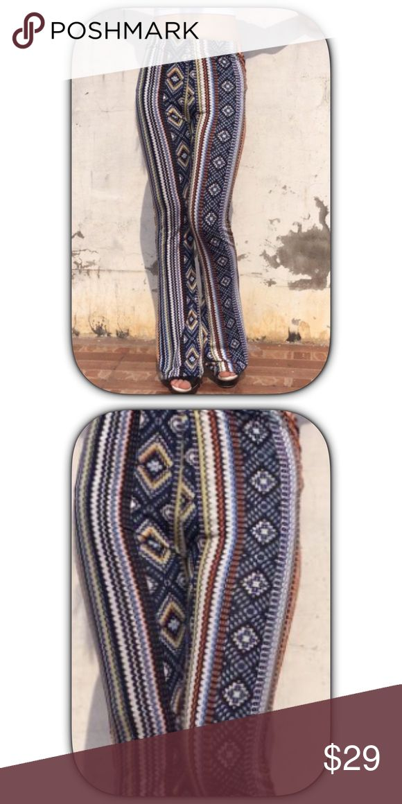 NWT Amazing Blue Geometric Bootcut Leggings Super soft and very comfortable! They look great and feel great on! The print is so much prettier than the pictures Boutique Pants Leggings