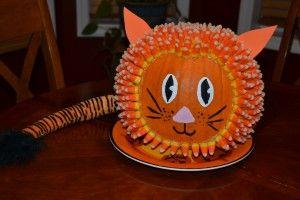 paint pumpkins ideas   Tiger Candy Corn Pumpkin