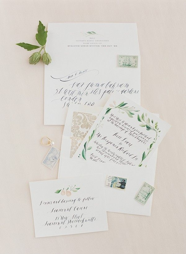 Hand Painted Wedding Invitation Suite By Feast Calligraphy