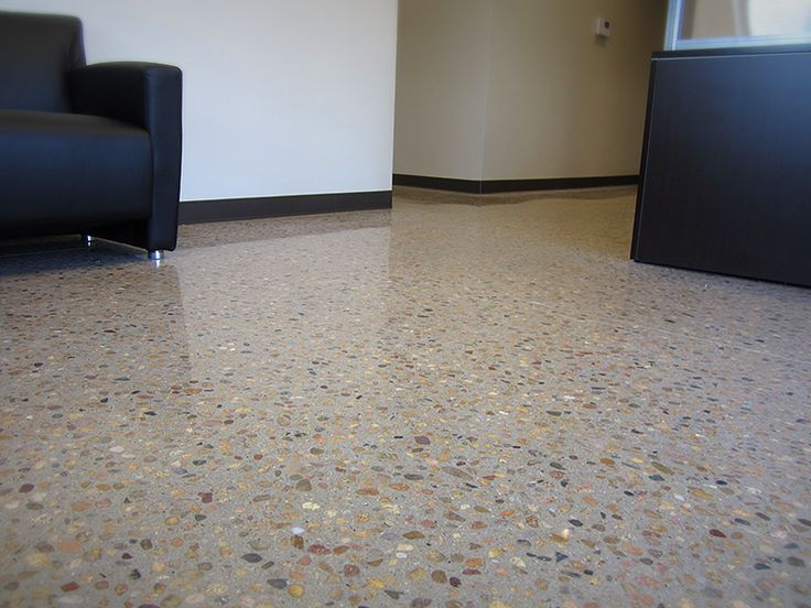 Concrete-Visions uses a variety of grits or diamonds to polish a concrete floor. The more grinding that is done, the better chance you will expose the aggregate, or stones in the cement. This creates a very unique look!