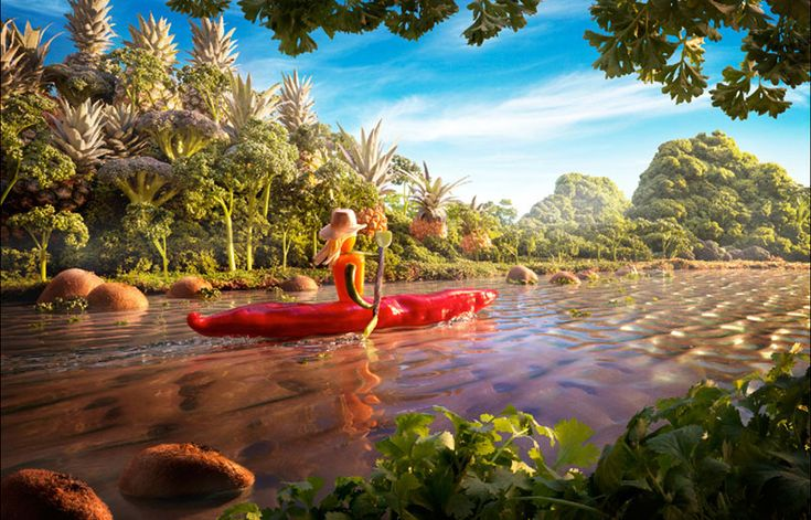 15 Surreal Landscapes Made from Food - chili ride in the jungle