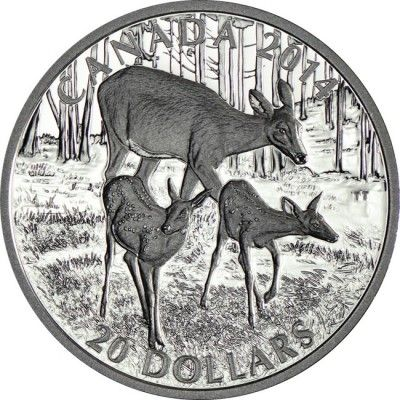 20 Dollar Silber Der Weißwedelhirsch - Reh mit Kitzen PP