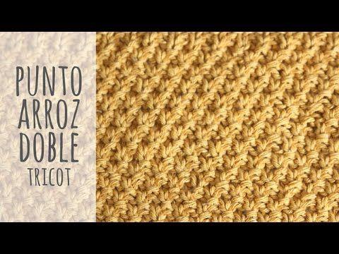 Tutorial Punto Arroz Doble Tricot | Dos Agujas - YouTube