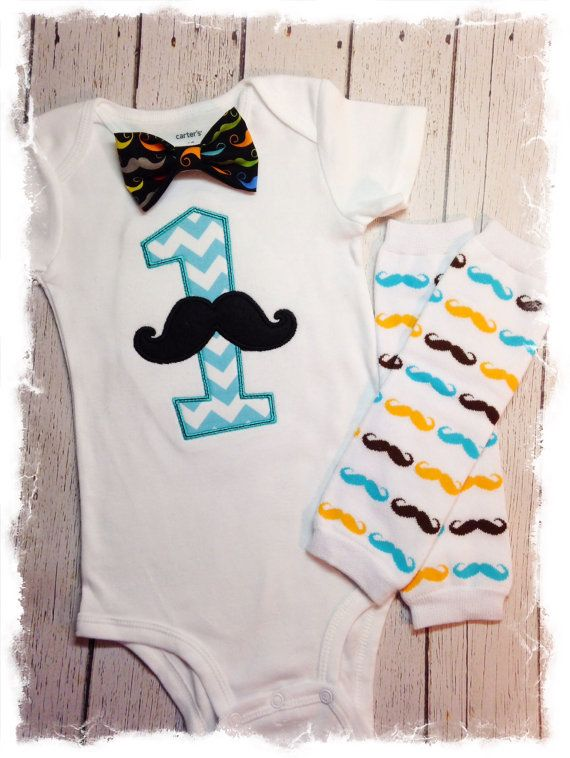 BOYS FIRST BIRTHDAY Mustache Outfit-Boys Mustache Birthday Set-Cake Smash Outfit-Bow Tie Bodysuit