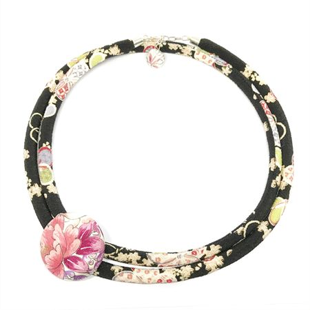 Versatile handmade Kimono Cord Necklace in  Florals with detachable vintage kimono button and secured with a button charm.
