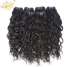 Sunlight Human Hair Brazilian Water Wave 100% Human Hair Weave Bundles Natural Hair Extensions 1B# Non Remy Hair 1pc Can Be Dyed(China)
