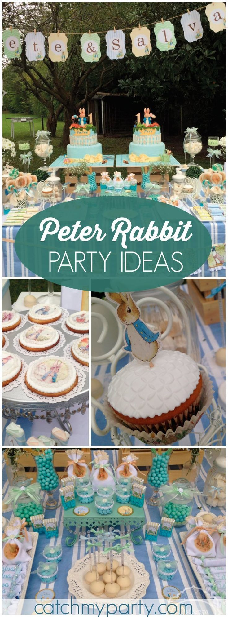 This amazing Peter Rabbit party is for a first birthday for twins! See more party ideas at CatchMyParty.com!