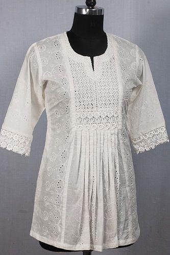 Beautiful White Chikan Kurta with Exquisite Lace Yoke and Pleated Design.