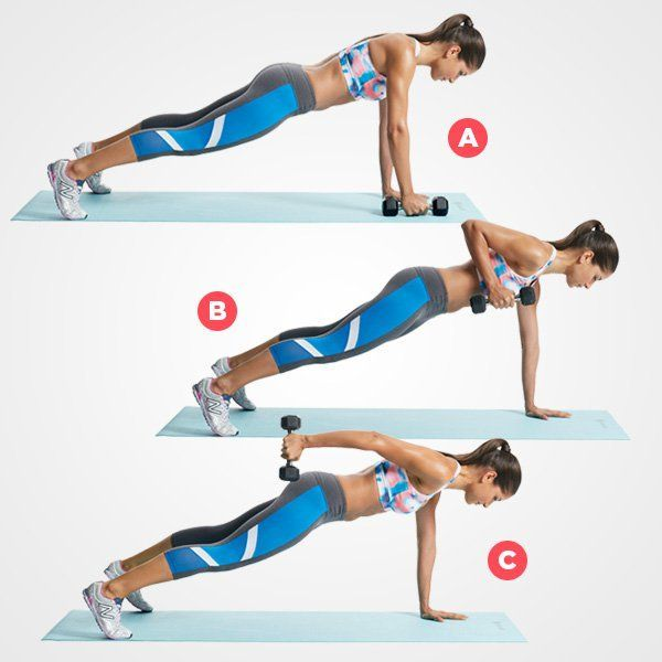 Plank Row and Kickback  http://www.womenshealthmag.com/fitness/plank-abs-workout