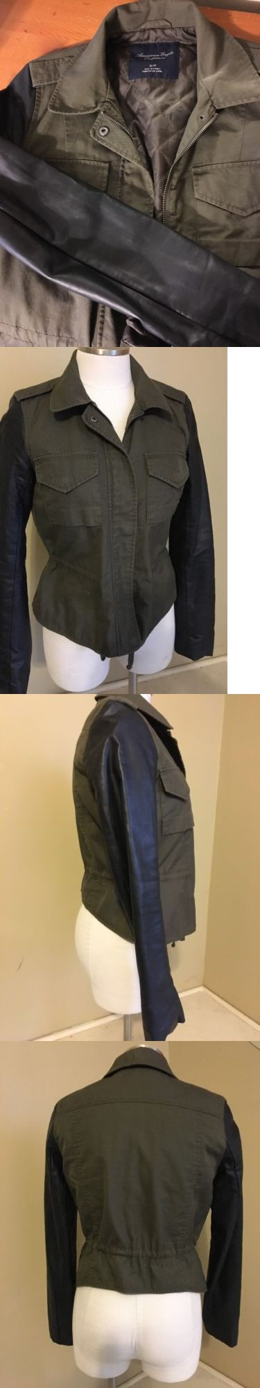 Women Coats And Jackets: American Eagle Womens Green And Black Military Moto Jacket Small Coat -> BUY IT NOW ONLY: $17.99 on eBay!