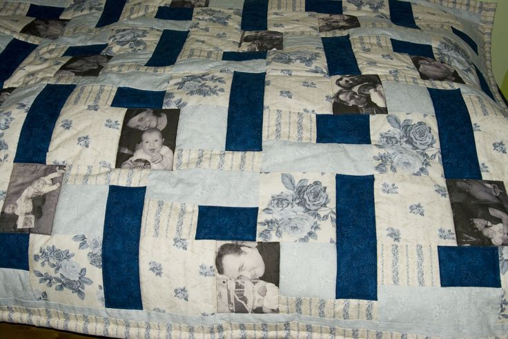 Blue roses quilted duvet with photos by Maggiepatchwork