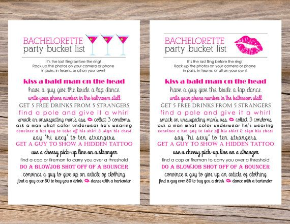Bachelorette Bucket List Scavenger Hunt ~ Use coupon code PINTEREST15 at checkout for 15% off of your total order!