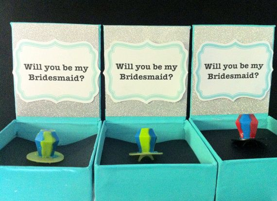 """SO CUTE!! Ask your bridesmaids with this Tiffany & Co inspired """"Will You Be My Bridesmaid"""" Box with ring pop inside by BlissfulBrideShoppe, $13.00"""