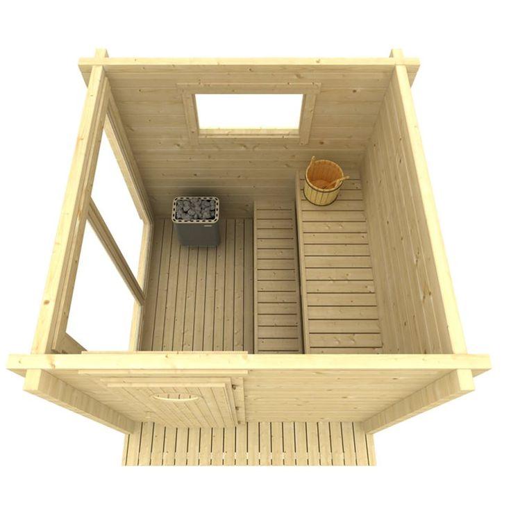 Vill du bygga din egen bastu Med Bastustuga Ville har du den perfekta lösningen! Ville är en Eluppvärmd Bastu på 4 kvm i modern stil med två stycken panorama fönster.