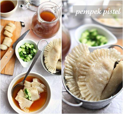 Pempek Pistel.  Fish Cake stuffed with Baby Papaya