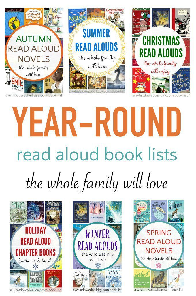 Read aloud chapter books for every time of the year. Everyone in the family will love these books. Huge range from funny books to mysteries and more.
