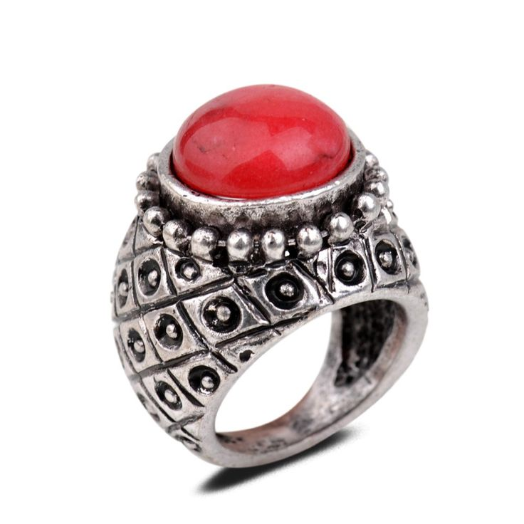 Yazilind Vintage Antique Round Cut Red Jade Retro Silver Plated 9 Ring Women: Jewelry: