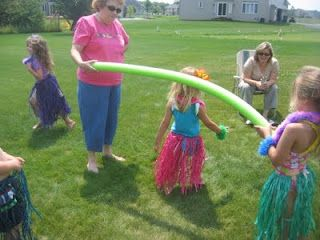 Luau camp games - Pool noodle limbo, pass the coconut, learn to hula