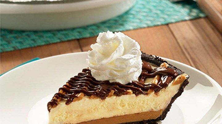 crisp chocolate crumb crust glazed with peanut butter, filled with ...