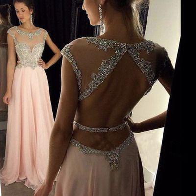Unique long prom dresses,sequin long pink prom dresses for teens, elegant a-line evening dresses,backless prom dresses