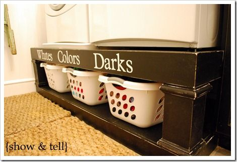 Love the risers for the washer/dryer....maybe I could make these: Organizations Ideas, Laundry Storage, Washer And Dryer, Laundry Rooms, Rooms Ideas, Laundry Baskets, Diy Projects, Rooms Organizations, Laundry Organizations