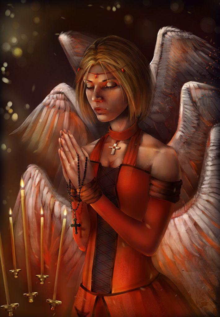 Bilder Fantasy Mädchens Engeln Kerzen