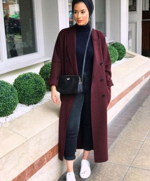 maroon coat with hijab-Winter stylish hijab collection – Just Trendy Girls