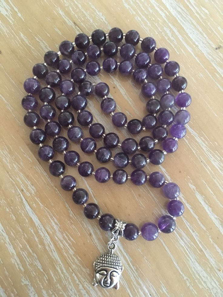 Amethyst gemstone necklace, 8mm beads with glass spacers