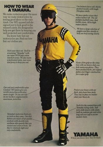 Vintage Yamaha Motocross Riding Gear advertisement