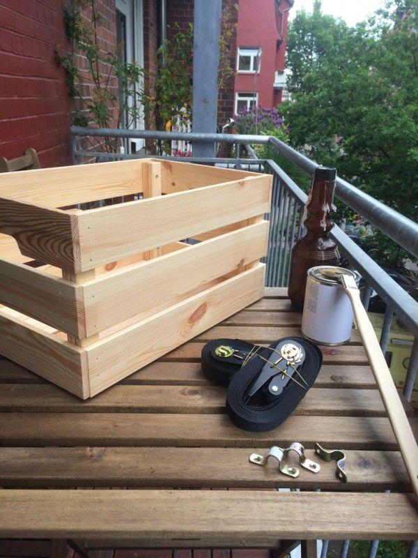 Balkonkästen Ikeahack1Lasur2Schnellspanner einfädeln3Kisten sichern